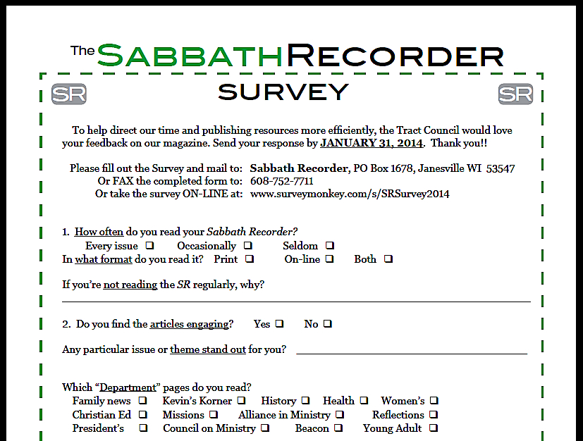 SR survey screen shot