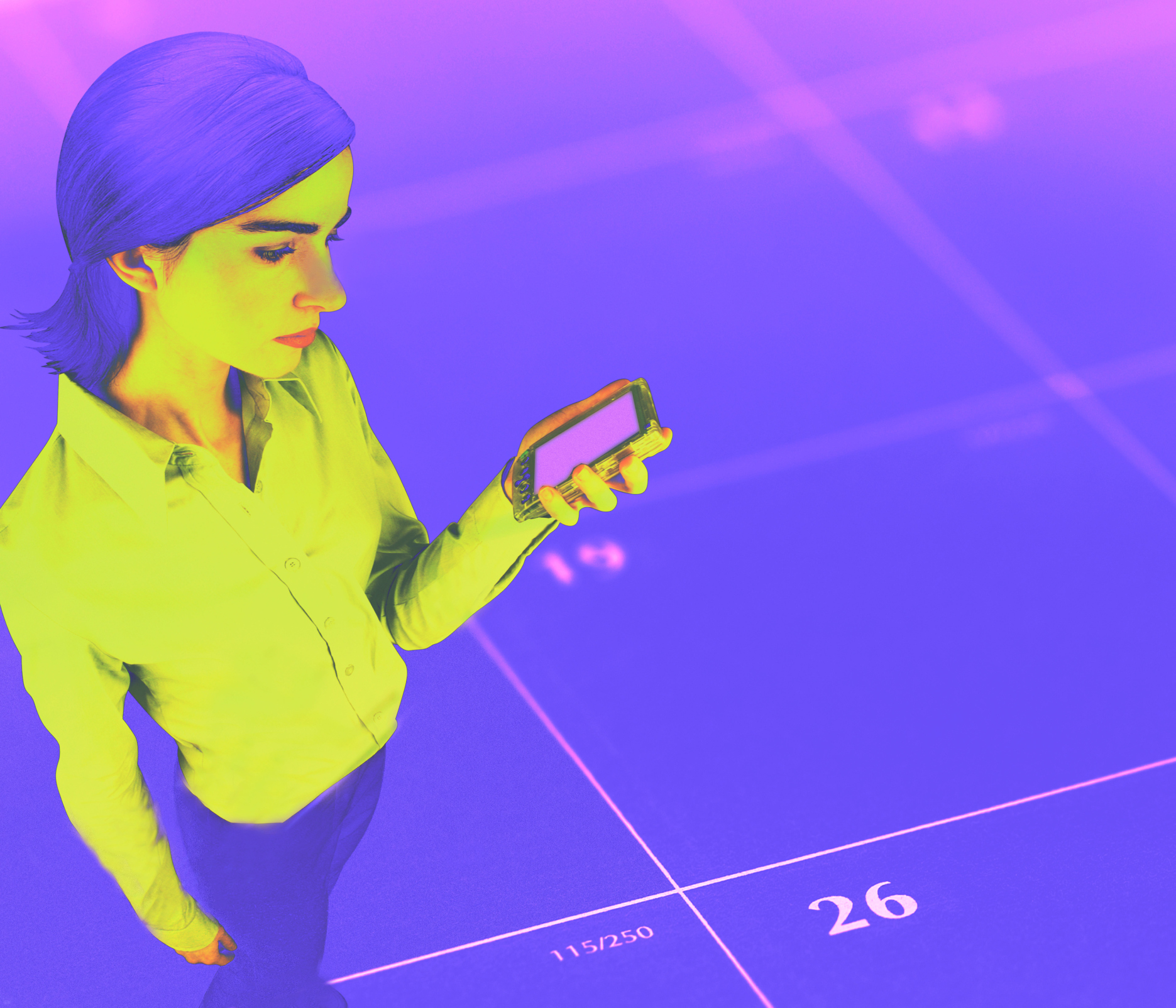 Composite of businesswoman with pda